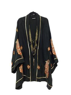 Black silk kimono jacket / beach cover up / with an indian paisley embroidery design