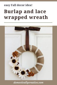 Loving this farmhouse look burlap and lace wreath with Fall florals. I am totally going to make one of these for my front door for Fall. #falldiy #wreath #doordecor #burlap #farmhouse #domesticallycreative Diy Fall Wreath, Fall Diy, Fall Wreaths, Wreath Ideas, Diy Halloween Food, Indoor Wreath, Autumn Decorating, Thanksgiving Decorations, Thanksgiving Ideas