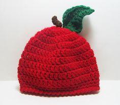 Crochet Apple Hat Apple Beanie Baby Hat by Starfall on Etsy, $13.00