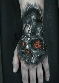Discover rich and mysterious ink with the top 51 best Gothic tattoos. Explore cool dark themed body art design ideas and inspiration. Hand Tattoo Cover Up, Tiger Hand Tattoo, Skull Hand Tattoo, Skull Tattoo Design, Skull Tattoos, Tattoo Designs Men, Body Art Tattoos, Sleeve Tattoos, Creepy Tattoos