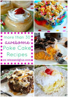 Poke Cake, in it's simplicity, comes in so many different flavors and shapes! Check out this list of more than 30 great Poke Cake Recipes! Poke Cake Recipes, Cupcake Recipes, Cupcake Cakes, Dessert Recipes, Poke Cakes, Cupcakes, Easy Desserts, Delicious Desserts, Yummy Treats