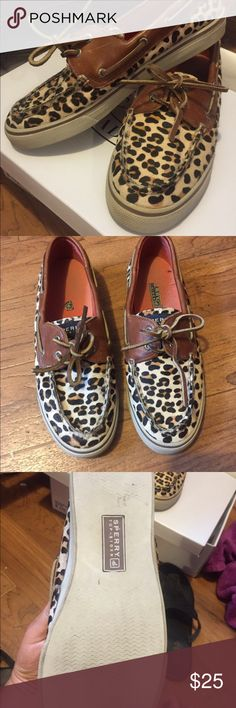 Sperry Cheetah Boat Shoes So adorable! Fun twist on boring old boat shoes. Get the Sperry name for cheap! Minimal wear showing Sperry Shoes Flats & Loafers