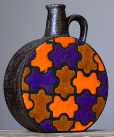 RAREST Vintage 1960  BITOSSI Wax/Puzzle ALDO LONDI Vase Italian Pottery Fat Lava