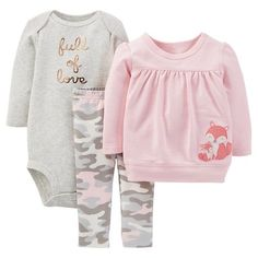 Just One You™ Made By Carter's® Newborn Girls' 3-Piece Fox Set - Pink