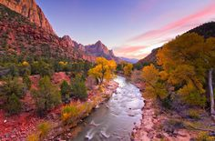 No peak fall colors in Zion yet this year so here's a shot from last fall from the Watchman at sunset — at Zion National Park. © Bill Ratcliffe