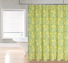 Royal Bath Paisley Damask Printed Fabric Shower Curtain (70 inch x 72 inch ) - Yellow