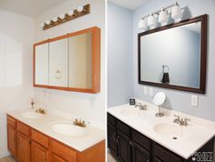 Before & After: Staining an oak cabinet a dark brown color and replacing the medicine cabinet with a pretty mirror! - ProjectGoble.com
