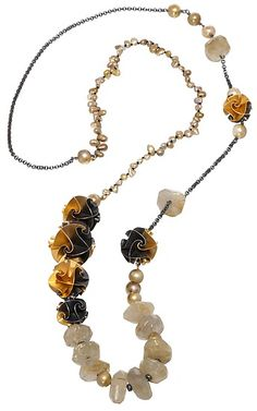 flora necklace with quartz: chihiro makio: beaded necklace - artful home