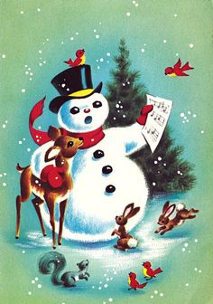 https://flic.kr/p/qcj2Vg | Vintage Christmas Card Snowman and Forest Animals…