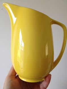 Lovely shape larger vintage 50s china bright yellow milk jug  mid century RETRO perfect for pernod