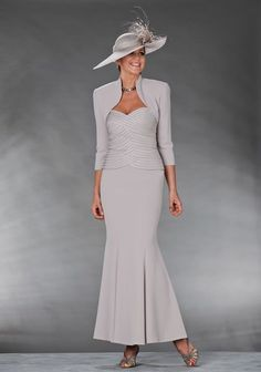 Mother Of The Bride / Groom Outfit: Long mink dress with ribbon detail on the bodice and a matching mink bolero Mother Of The Bride Suits, Mother Of Bride Outfits, Mother Of Groom Dresses, Mothers Dresses, Mother Bride, Perfect Prom Dress, Beautiful Prom Dresses, Groom Outfit, Formal Dresses For Women