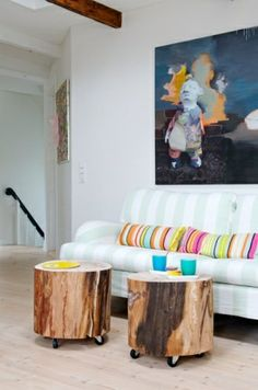 massivholz Couchtische sofa kissen Baumstamm