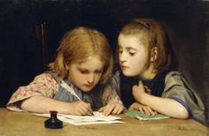 "https://flic.kr/p/xNQEw7 | Albert Anker ""The Lesson"" (Der Schreibunterricht) 1865 