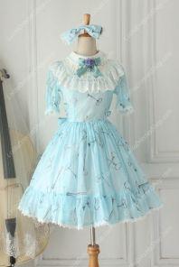 Sweet Chiffon  Lace Alice in Wonderland Short Sleeve Knot OP Lolita Dress