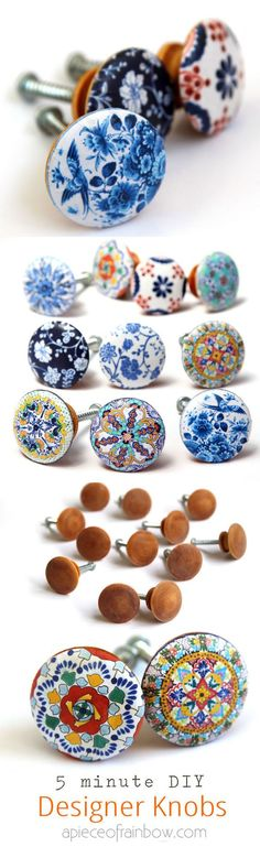awesome idea to cover cheap wooden knobs covered with some gift