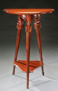 EUGENE GAILLARD Art Nouveau carved sellett, 98 cm H.
