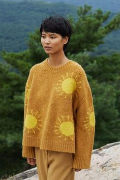 Italian furry alpaca wool blend yellow sun sweater. Oversized boxy fit with drop shoulder. Ribbed collar, cuff and waistband.