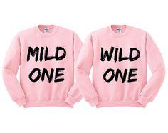 Pink Crewneck Mild One Wild One Best Friends Sweatshirt Sweater Jumper Pullover