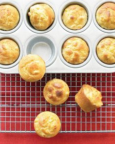 Mini Cornbread Puddings (not muffins -- because they're far moister and more tender than what you might expect, thanks to sour cream in the batter.)