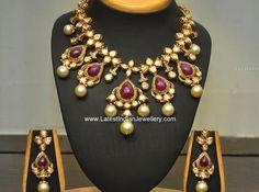 Polki Diamonds Zambian Rubies Necklace