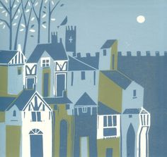 York Original Linocut - Limited Edition - UK England -  Europe - Green Magical English Medieval City by Giuliana Lazzerini.