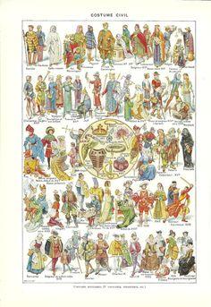 1 storia della moda francese - Poster Vintage - colore illustrazione - 1948