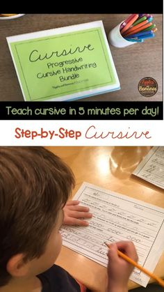 An easy way to teach cursive in just five minutes per day. Students connect letters and words from Day 1 and learn in a fun, progressive way. Teaching Cursive Writing, Learning Cursive, Handwriting Practice Worksheets, Handwriting Activities, Writing Lessons, Kids Writing, Fun Learning, Teaching Kids, Teaching Resources
