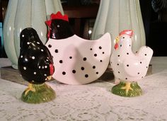 3 Piece Set Salt Pepper Spoon Rest Black & White Polkadot Chickens by SweetTeaTreasures on Etsy