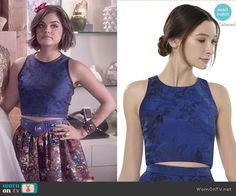 Aria's blue crop top on Pretty Little Liars.  Outfit Details: http://wornontv.net/50900/ #PLL (altered)