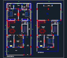 Autocad drawing of a duplex independent house shows space planning in plot size Drawing accommodates Ground and First Floor Plan. 2bhk House Plan, Duplex House Plans, House Plans One Story, House Floor Plans, Autocad, House Design Drawing, House Drawing, Independent House, Cad 2d