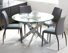 6877df44408 IBIZA - Round glass and chrome dining table 47   - Chrome Round Dinning  Table
