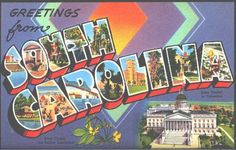1940s Large Letter Greetings from South Carolina State Vintage Postcard
