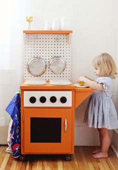 A play kitchen out of a small cabinet