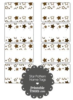 Brown Star Pattern Name Tags from PrintableTreats.com
