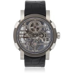 Romain Jerome Men Skylab Grey Metal Skeleton Watch (707,370 THB) ❤ liked on Polyvore featuring men's fashion, men's jewelry, men's watches, silver, mens water resistant watches, mens metal watches, mens skeleton watches, blue dial mens watches and mens grey watches