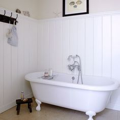 Bathroom: White Roll Top Panelled Bathroom Country Homes And Interiors Housetohome. Roll Top Laptop, Roll Top Jump Or White Roll Anatomy. Coastal Bathrooms, Beach Bathrooms, Bad Inspiration, Bathroom Inspiration, Roll Top, White Bathroom, Zebra Bathroom, Kmart Bathroom, Paris Bathroom