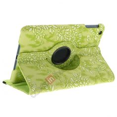 Flower Pattern 360 Rotation Flip Stand Leather Case For iPad Mini - Green US$11.99