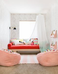 A bright and fun girls playroom makeover.