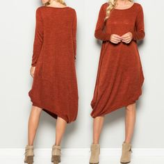 Goddess of Harvest. Demeter Asymmetrical is our classic Demeter dress with anasymmetric hemline. Pockets. Long sleeves. Round neck. Knee length. Hacci Knit.        95% Polyester 5% Spandex.   Color is Rust. SML Arrives 10/7/16 FREE SHIPPING | Shop this product here: http://spreesy.com/blacqskirt/64 | Shop all of our products at http://spreesy.com/blacqskirt    | Pinterest selling powered by Spreesy.com