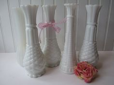 Vintage Milk Glass Classic Vase Collection of by mymilkglassshop, $24.50
