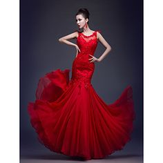 Formal Evening/Prom/Military Ball Dress Trumpet/Mermaid Scoop Floor-length Chiffon/Lace Dress – USD $ 79.99