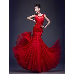 Formal Evening/Prom/Military Ball Dress Trumpet/Mermaid Scoop Floor-length Chiffon/Lace Dress – USD $ 79.99
