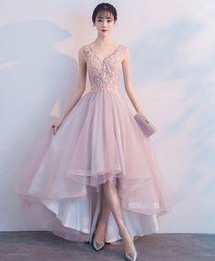 Light pink tulle lace prom dress, V neck prom dress, high low prom dress for teens #prom #dress #promdress #promdresses