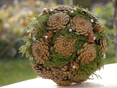 pine cone and moss or x-mas greens