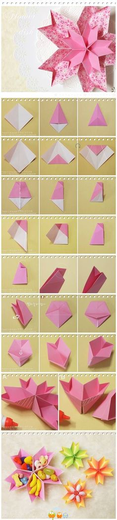 DIY Origami-Papierblumen-Teller DIY origami paper flower plate DIY Origami Modular SpinnerQuilling Paper Flower Tutorial: D. Quilling PRounding off origami inspiration and paper folds Diy Origami, Gato Origami, Origami Paper Folding, Origami And Kirigami, Paper Crafts Origami, Useful Origami, Diy Paper, Oragami, Origami Instructions