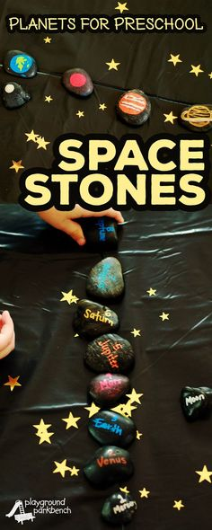 Study the planets with your preschooler with these durable, easy to make, Space Stones! Hands-on learning will teach young scientists to identify and order the planets, while reinforcing number recognition and early literacy skills too! | Preschool | Space | Solar System | STEAM | STEM | Science for Kids | Learning Activities | Early Childhood Education
