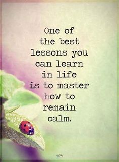 Vibrational Energy - Quotes one of the best lessons you can learn in life is to master how to remain calm. My long term illness is finally going away, and I think I might have found the love of my life. Wisdom Quotes, True Quotes, Words Quotes, Quotes To Live By, Sayings, Quotes Quotes, Calm Quotes, Dream Quotes, Money Quotes
