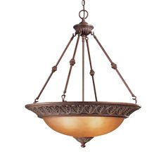 Golden Lighting 7116 3p Lc Mayfair 3 Lights Pendant Bowl In Leather