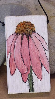 Pink Flower Painted Pendant Wood Coneflower by BetweenTheWeeds