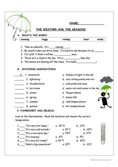 The Weather and the Seasons - English ESL Worksheets for distance learning and physical classrooms Social Studies Worksheets, 2nd Grade Worksheets, English Worksheets For Kids, Science Worksheets, English Activities, Vocabulary Worksheets, English Vocabulary, Super Worksheets, Seasons Worksheets
